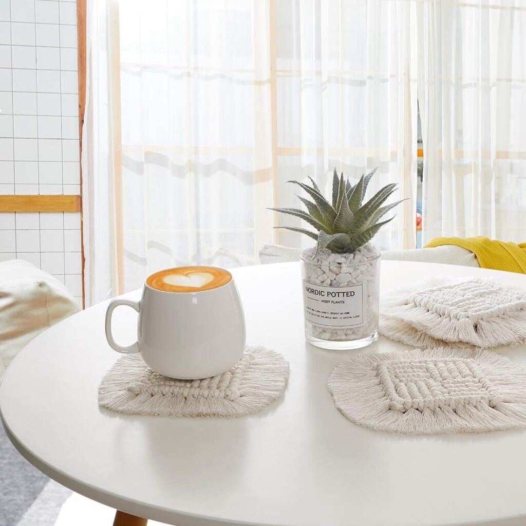 Macrame CoastersforDrinks - 4Pcs Handmade Absorbent Coasters, Boho Woven Square Cup Mat with Tassel $13.99