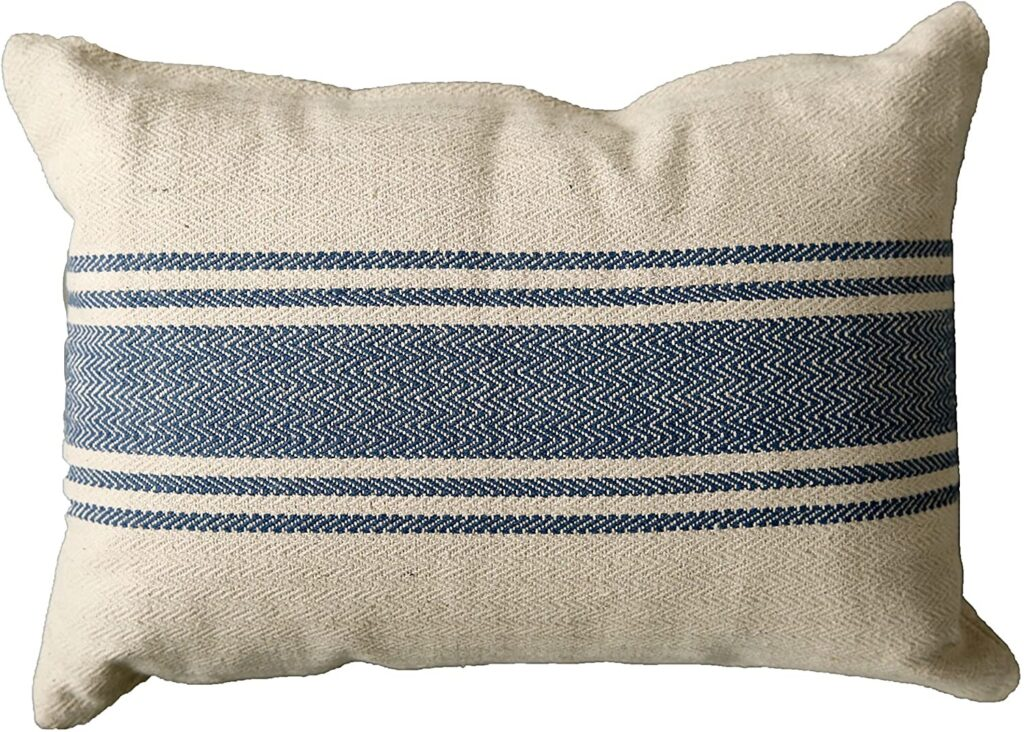 Creative Co-Op DA6448 Cream Cotton Canvas Pillow with Blue Stripes $35.99