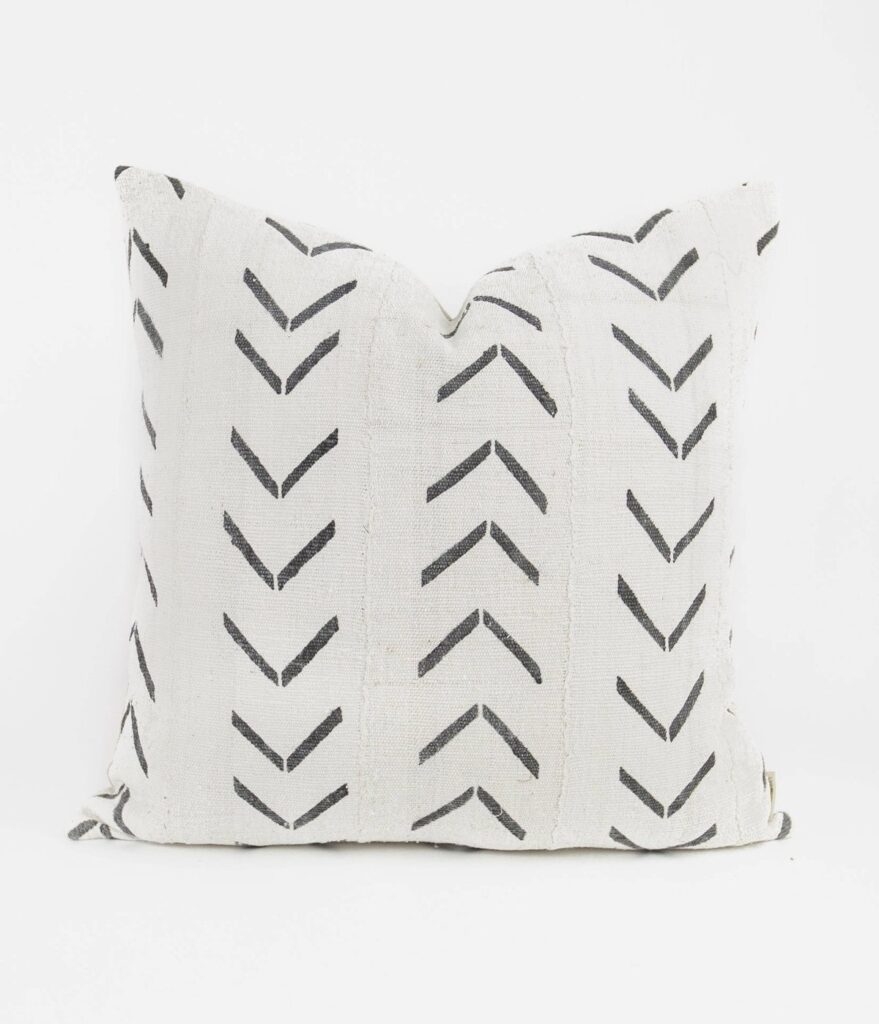 BRYAR WOLF JAYA MUD CLOTH PILLOW - WHITE $120.00