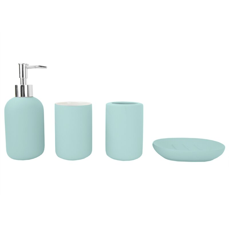 Marini Rubberized Ceramic 4 Piece Bathroom Accessory Set $22.99