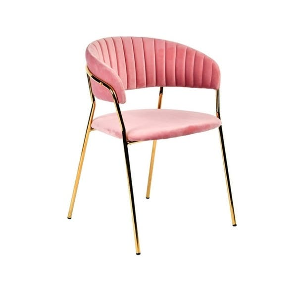 Modrest Brandy Modern Pink Velour Dining Chair (Set of 2) $284.99