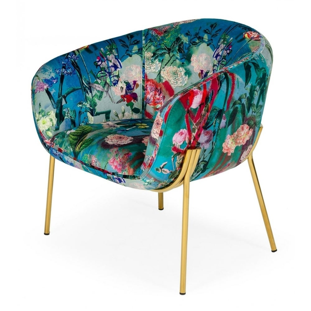 Modrest Falco Contemporary Floral Velvet and Gold Accent Chair $429.99