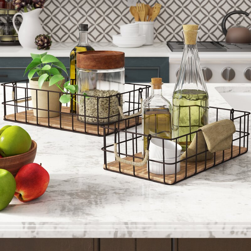 2 Piece Wire/Wood Basket Set $45.99