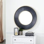 """Decmode 37323 Large Gold And Black Metal Rimmed Wall Mirror, 35\"""" X 35\"""""""