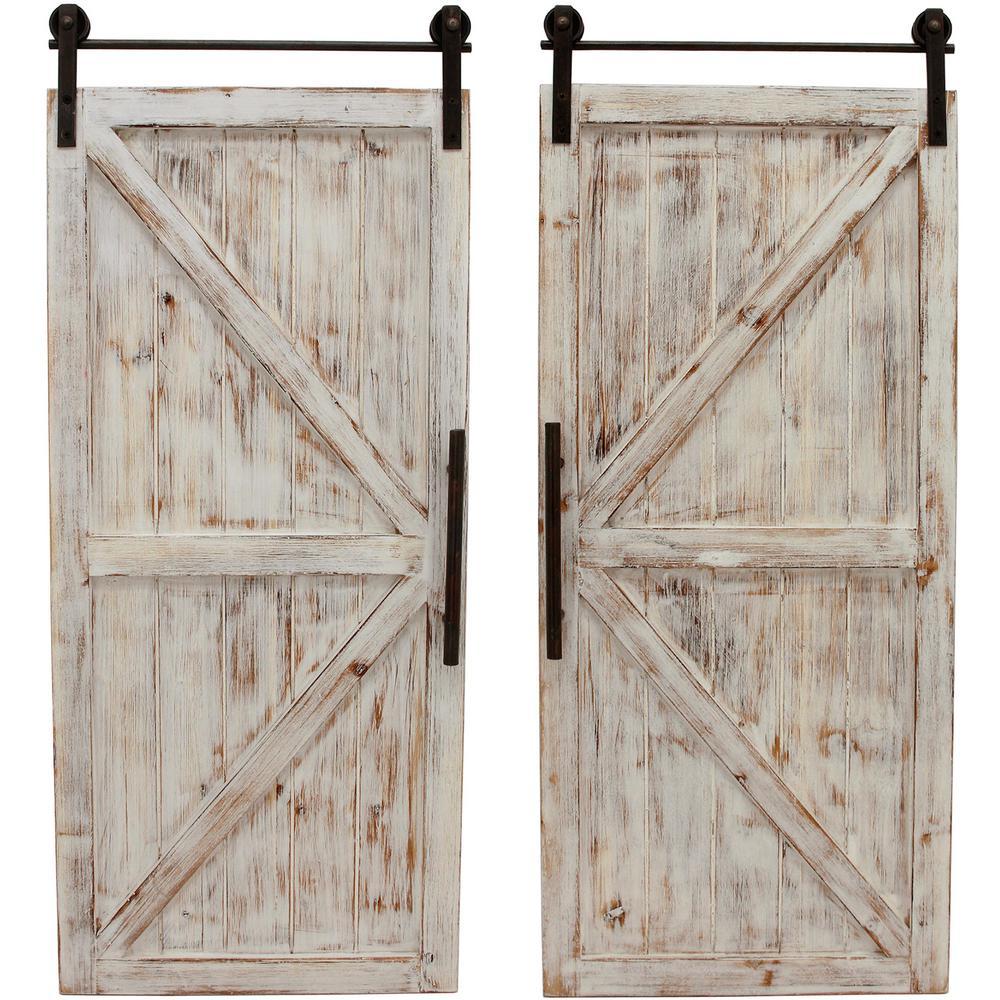 34 in. x 14 in. Carriage House Barn Door Wooden Wall Plaque Set $78.64