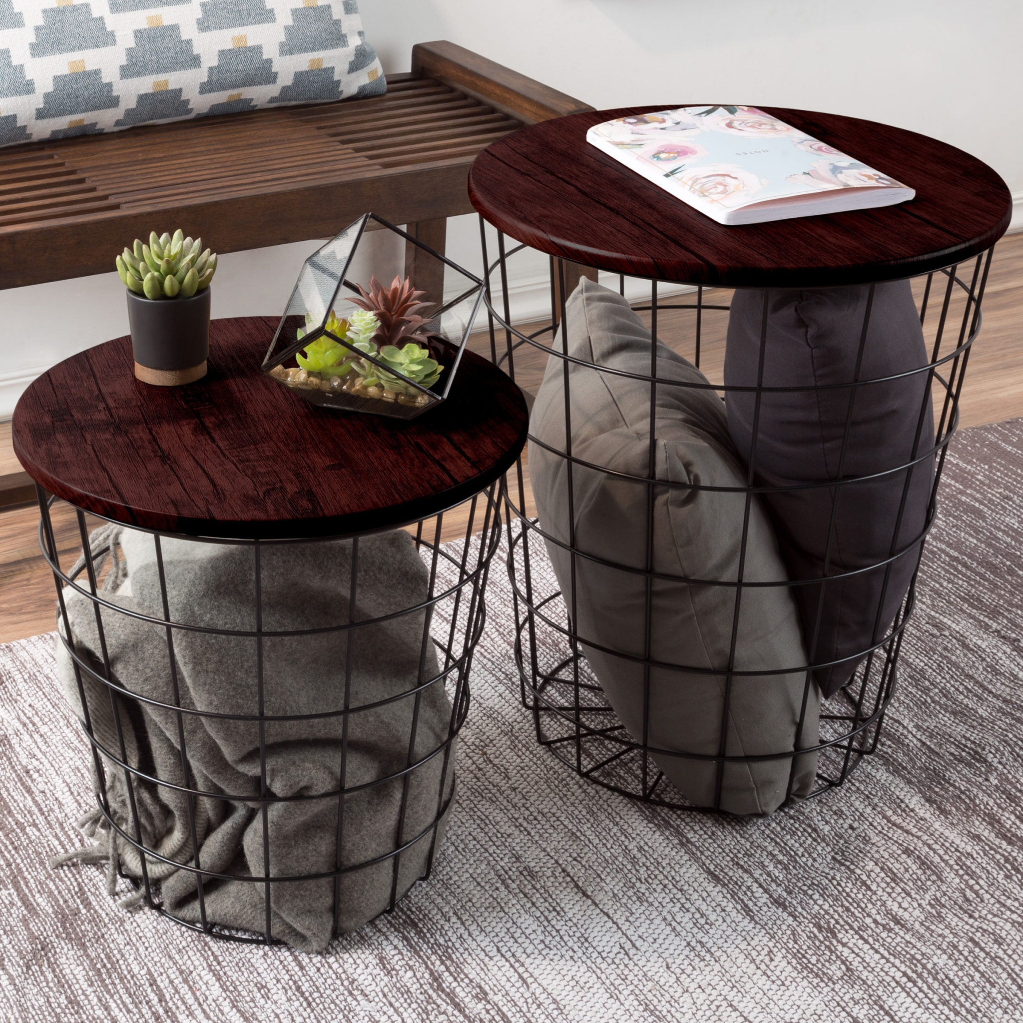Nesting End Tables with Storage - Set of 2 $94.51