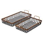 Black And Brown Woven Bamboo Tray With Gold Metal Handles, Set Of 2 $87.52