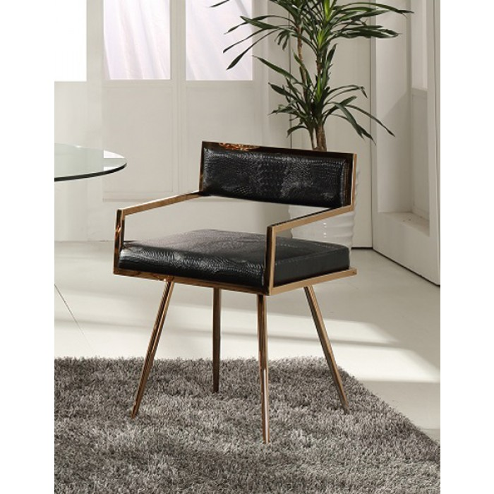 Modrest Rosario Modern Black and Rosegold Dining Chair $248.00