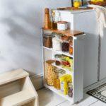 Wood & Steel Slim Storage Cabinet $120