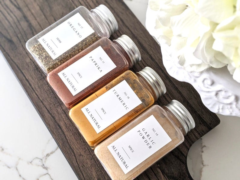 Farmhouse Labels - Custom Farmhouse Spice Jar Labels $7.75+