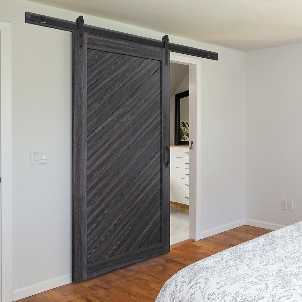 36 in. x 84 in. Diagonal Stormy Gray Interior Sliding Barn Door Slab with Hardware Kit $349.00