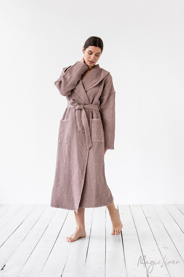 Hooded Cotton Waffle Robe $116.00