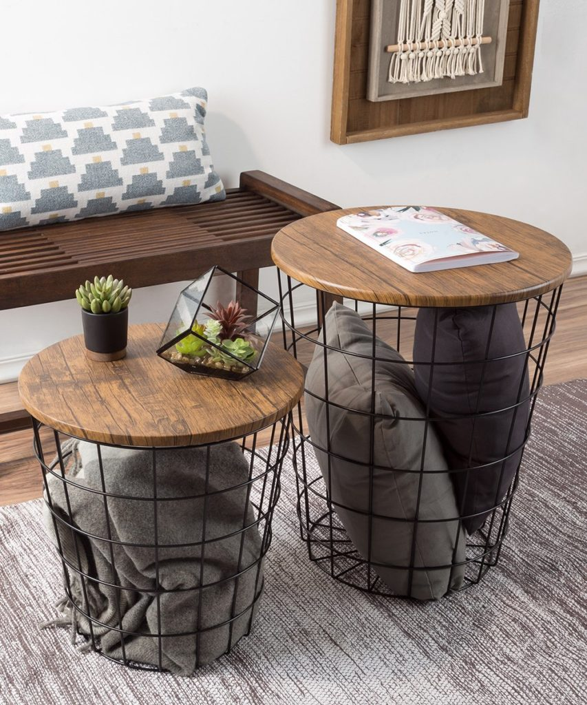 Black Storage Nesting End Table Set $117.99