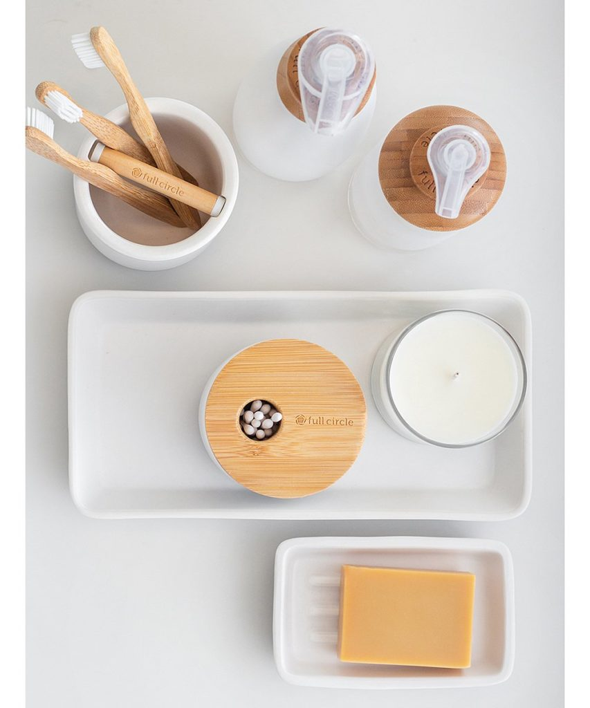 White & Bamboo Storage Canister $10.99$10.99