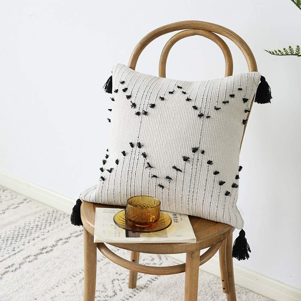 Pillow with Tassels, Cotton Woven Throw Pillow $17.99