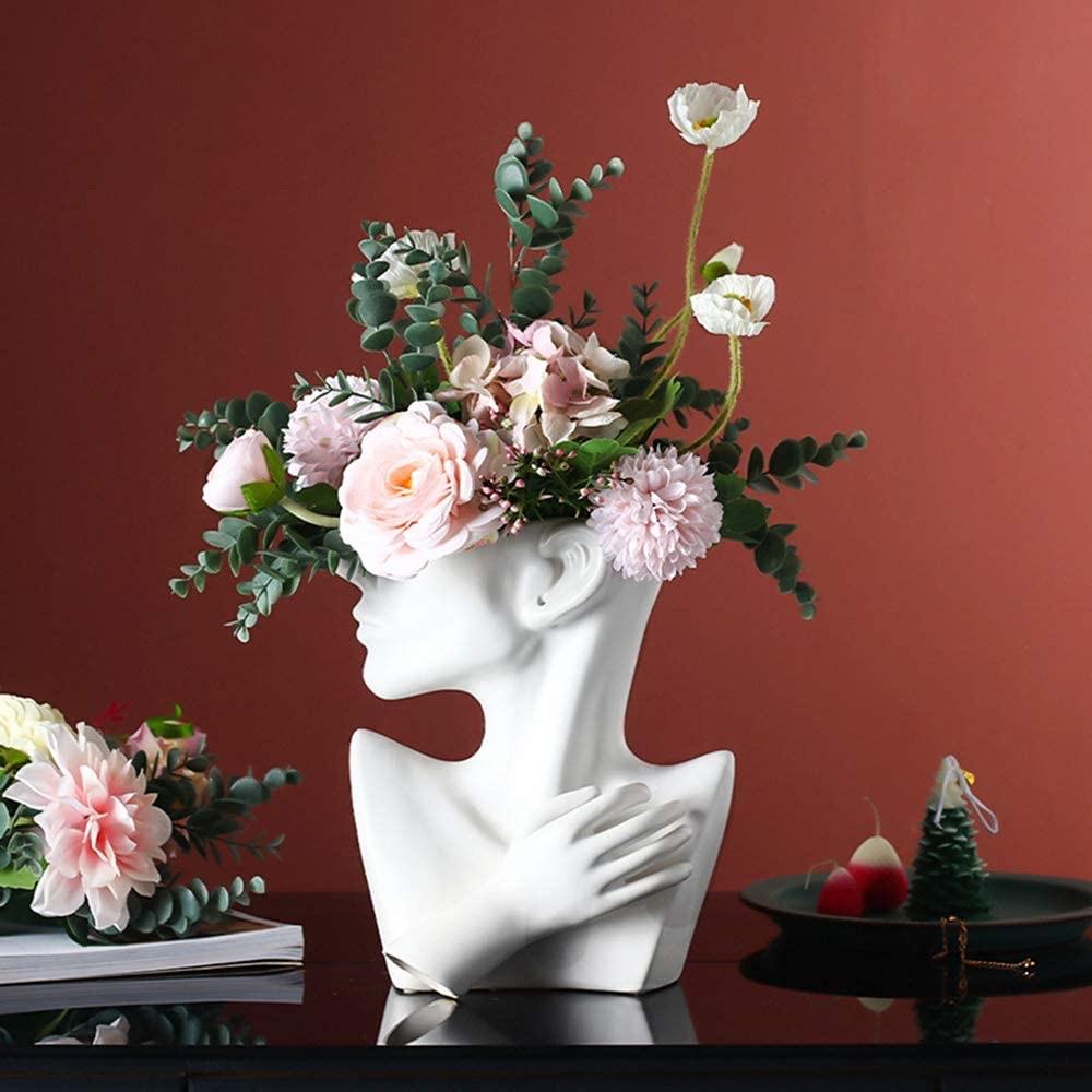 Ceramics Statue Flower Vase Face Pots $46.99