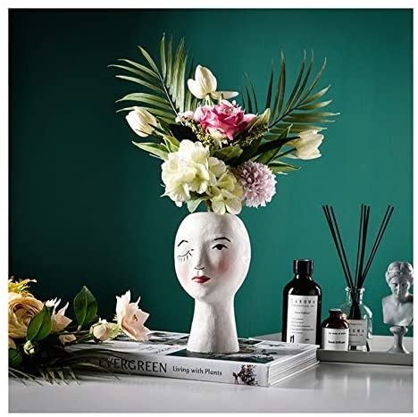Funsoba Plant Pot Female Face Statue Head Vase $14.99