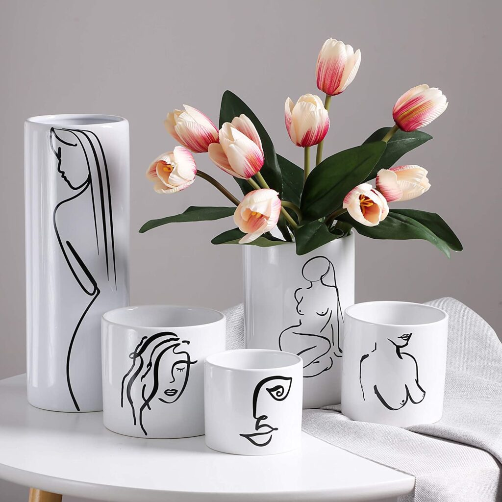 Abstract Figure Painted Minimalist Line Style vases $27.99