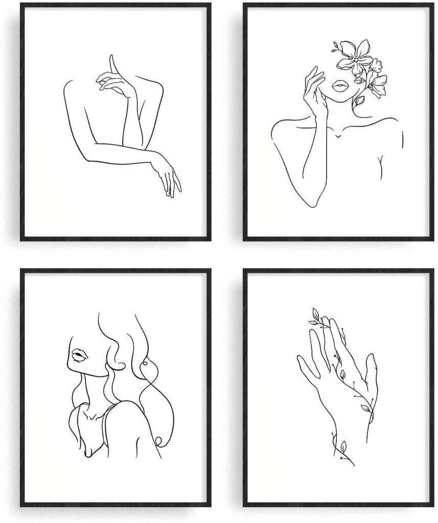 Minimalist Line Art Prints Set of 4 $14.99