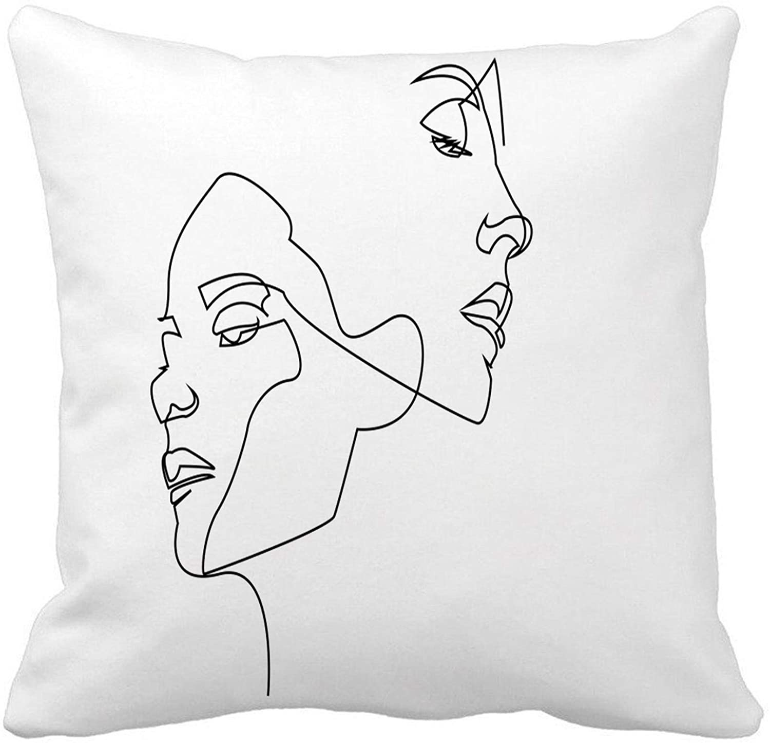 18x18 Inch Throw Pillow Cover Continuous Line Drawing of Faces $9.92