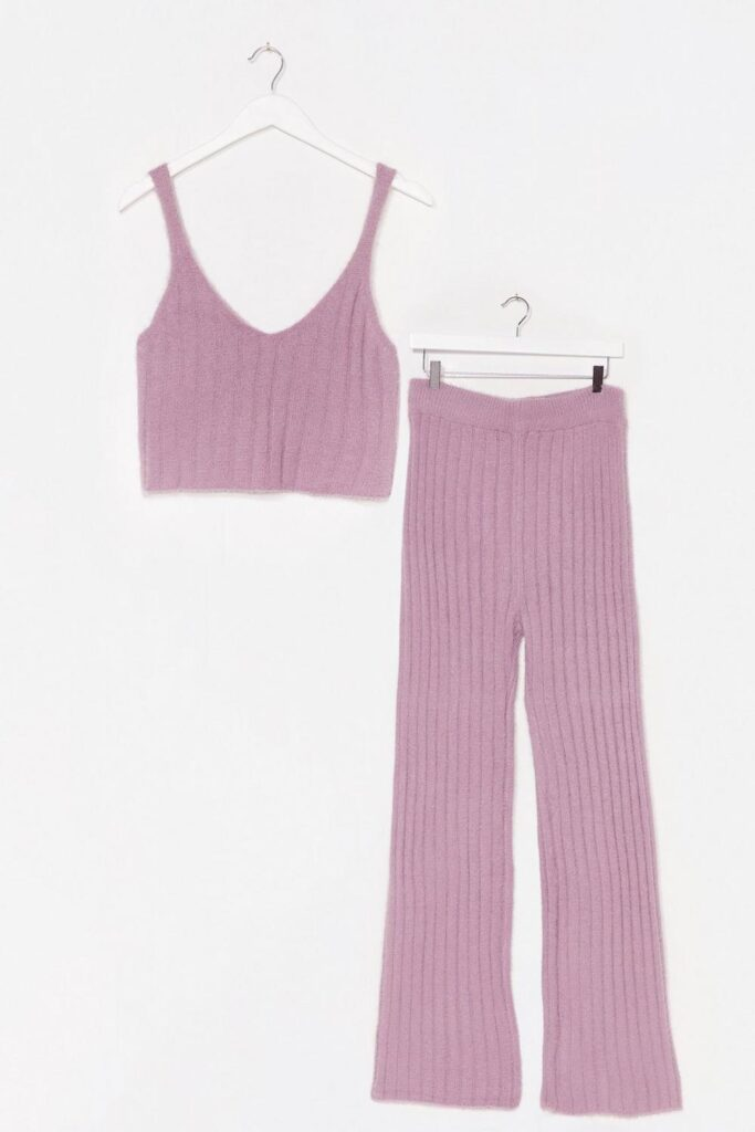 Fluffy Rib Knitted Vest + Wide Leg Lounge Set $37.50