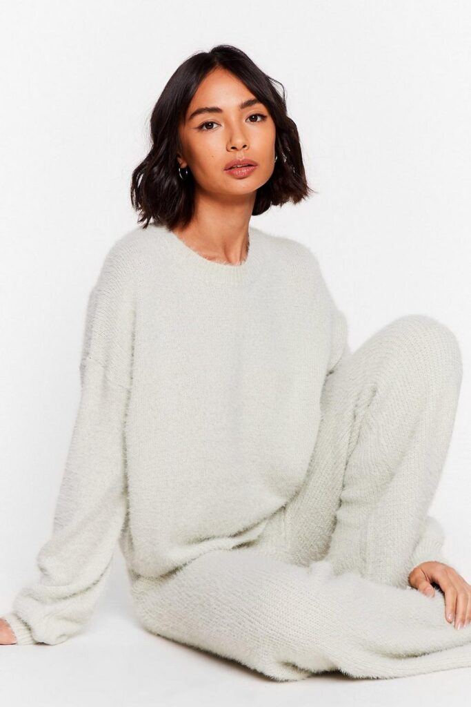 Luxe Good to Me Fluffy Knit Wide-Leg Lounge Set $37.50