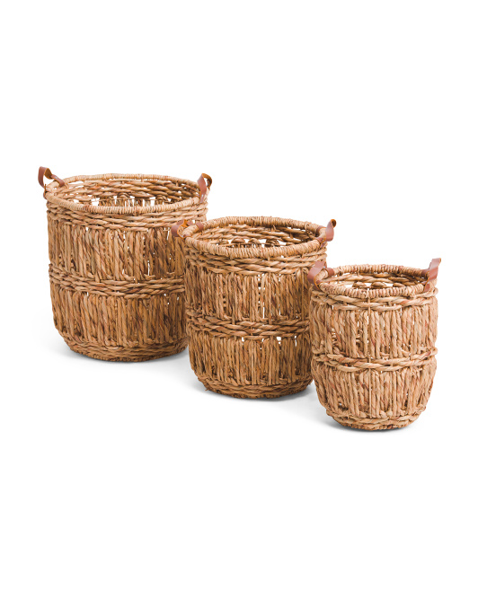 VIET05 Leather Handle Basket Collection $16.99 — $34.99