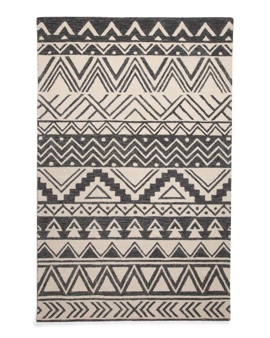 MOMENI 5x8 Hand Hooked Wool Pile Boho Area Rug $129.99