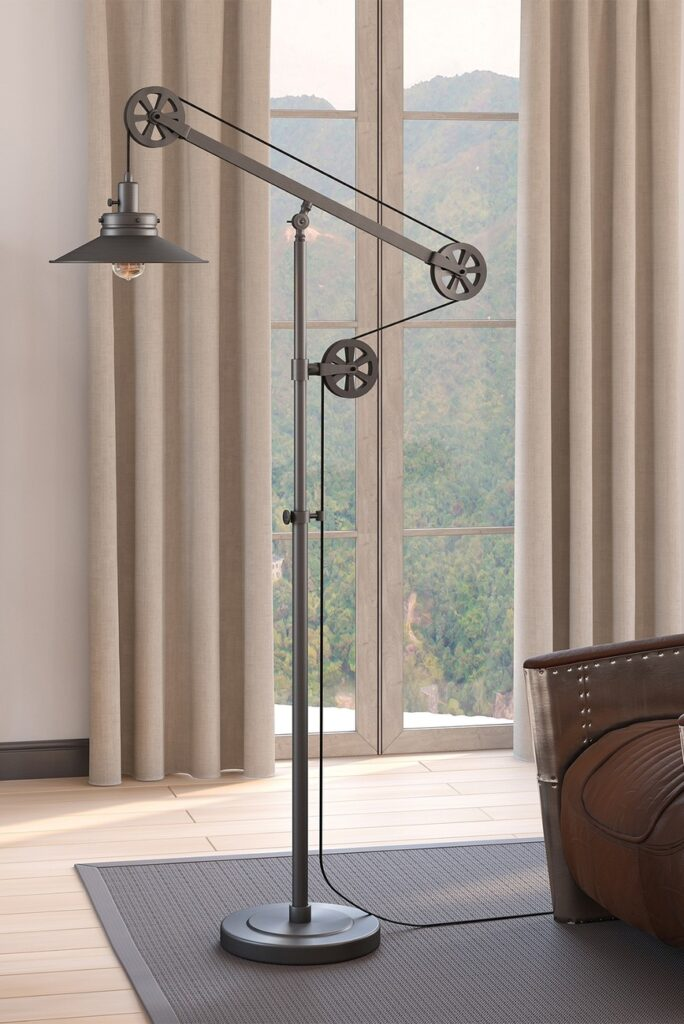 Descartes Aged Steel Wide Brim Floor Lamp with Pulley System $183.97 https://fave.co/3jOZl1Y