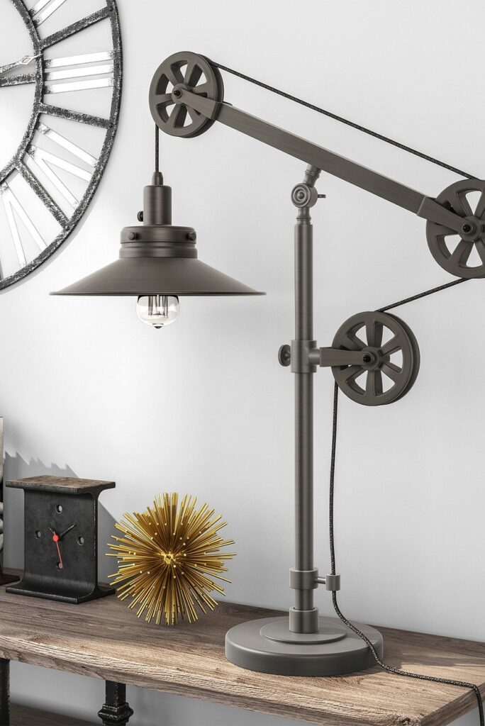 Descartes Aged Steel Wide Brim Table Lamp with Pulley System $124.97 https://fave.co/33MVTzG