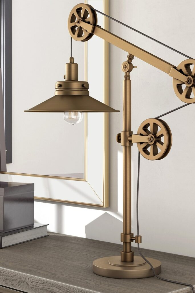 Addison and Lane Descartes Brushed Brass Wide Brim Table Lamp with Pulley System $124.97