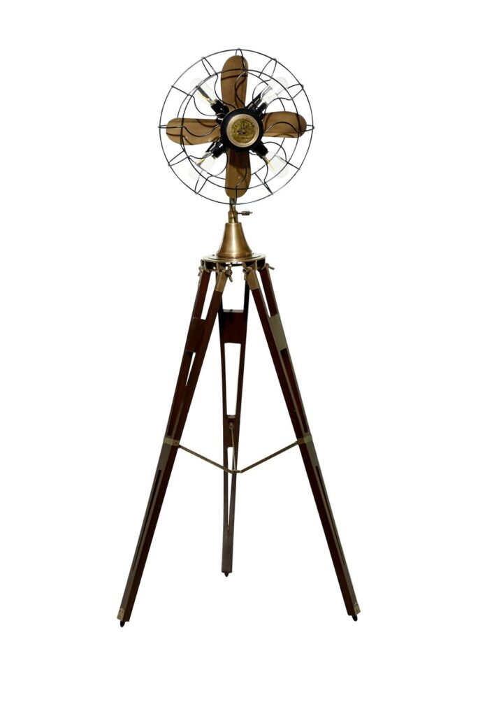Willow Row Antique Gold And Black Aluminum Fan Floor Lamp with Adjustable Wood Tripod Base - $324.97