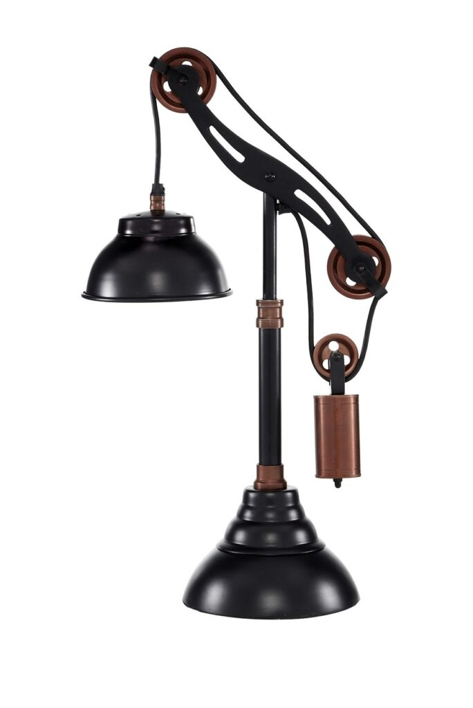 """Willow Row Black And Copper Aluminum Adjustable Pulley Table Lamp - 13\"""" x 24\"""" $133.97"""