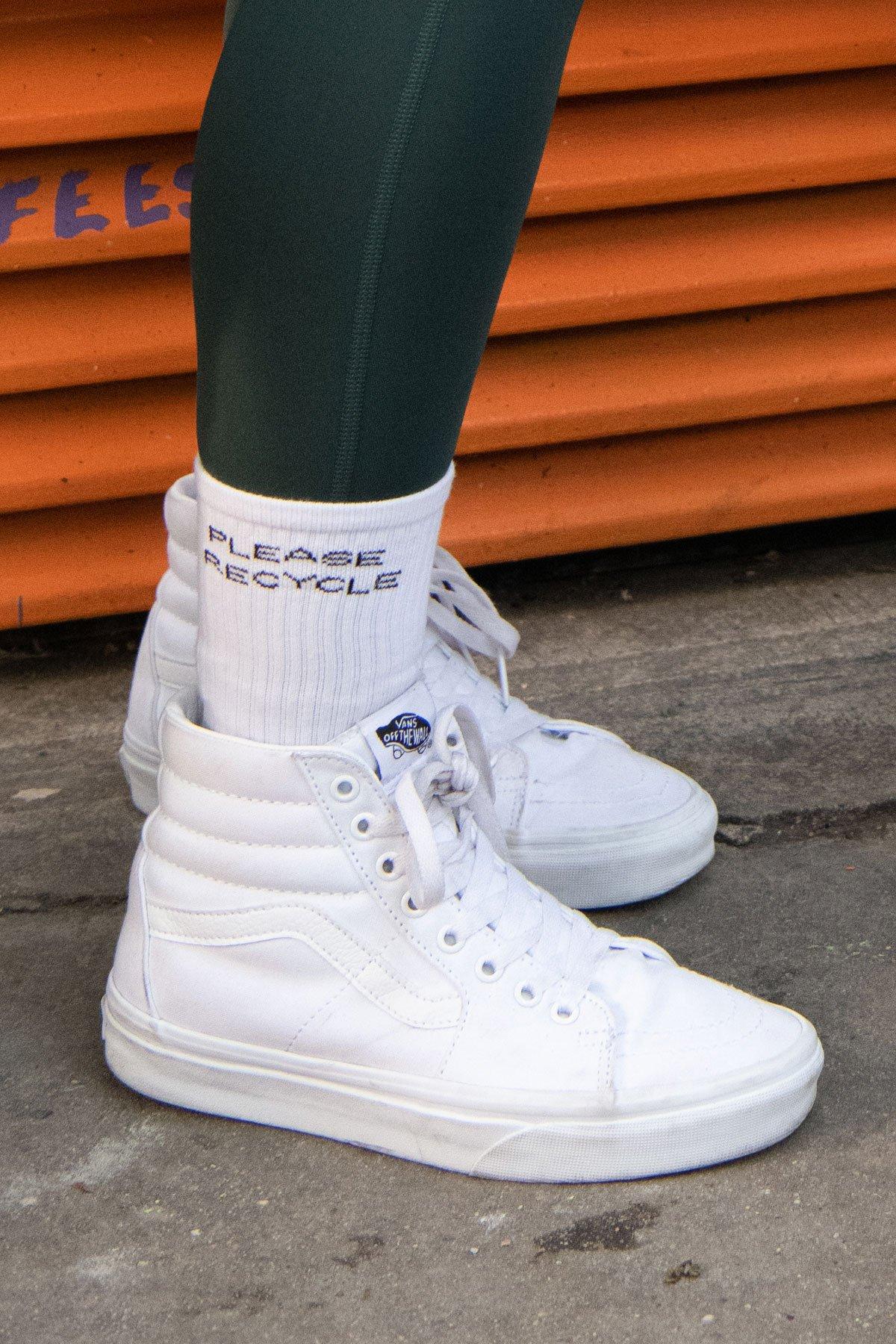 White Please Recycle Crew Sock $14