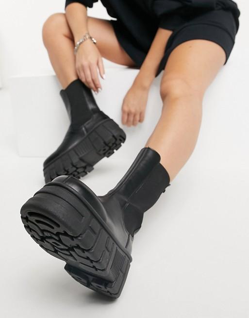 ASOS DESIGN Aliyah chunky chelsea boots in black $56.00