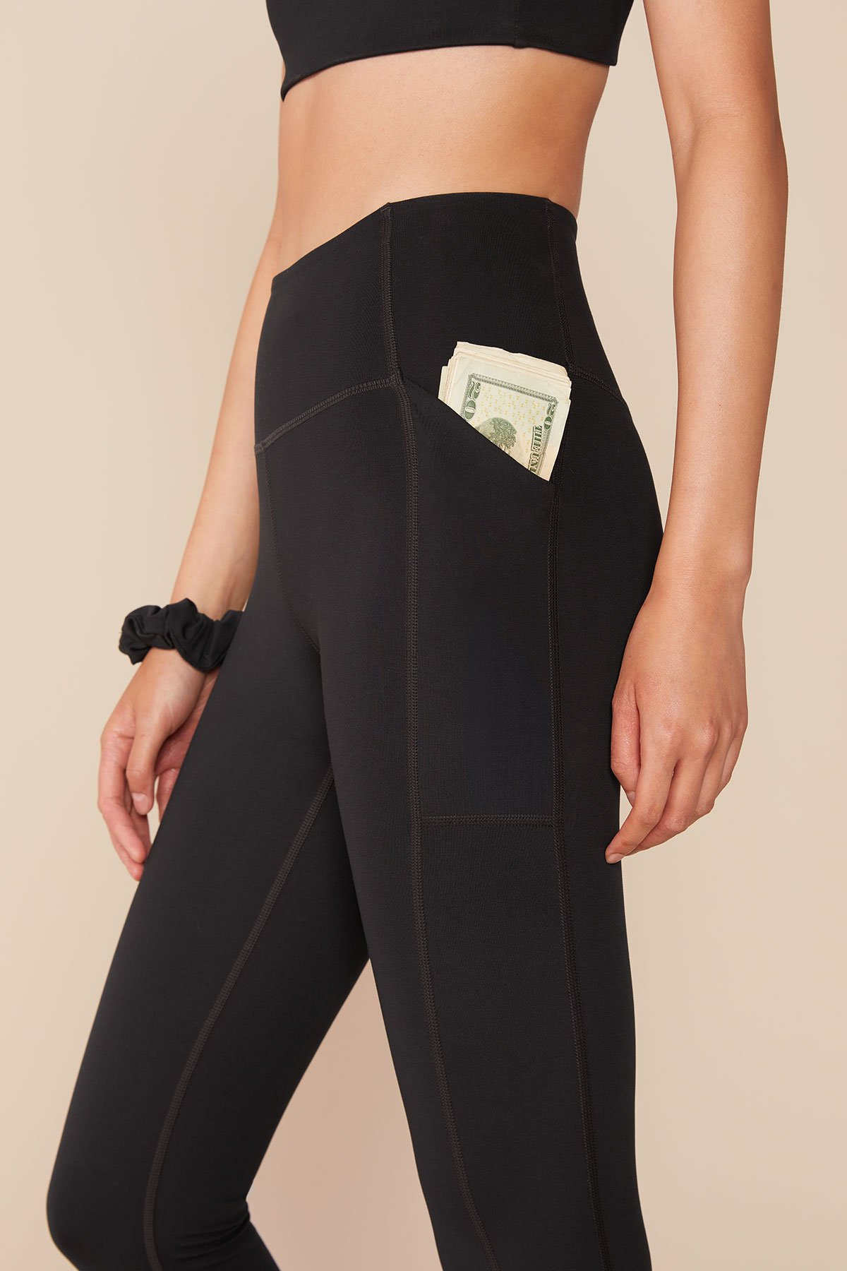 Black High-Rise Pocket Legging $78