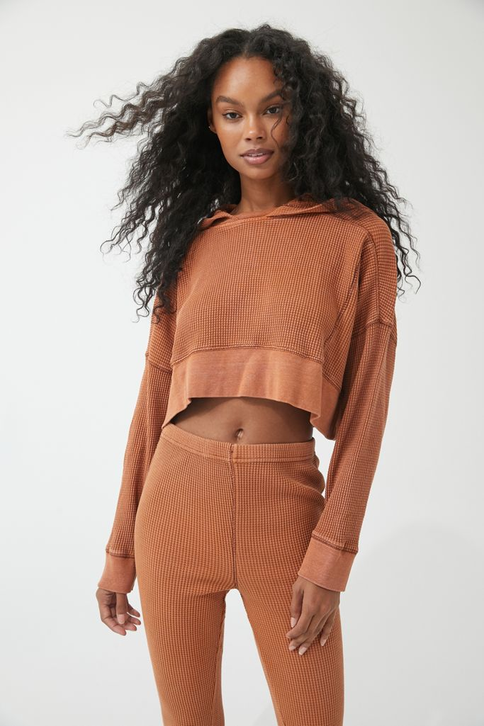 Out From Under Felicity Thermal Cropped Hoodie Sweatshirt $59.00