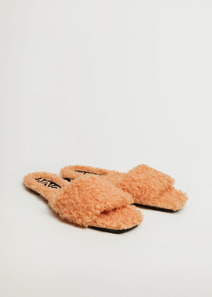 Faux fur felt sandals $39.99