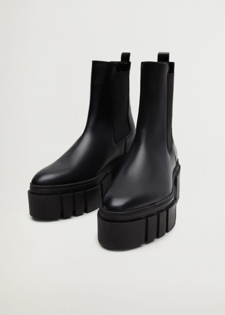 Leather track sole ankle boots $149.99