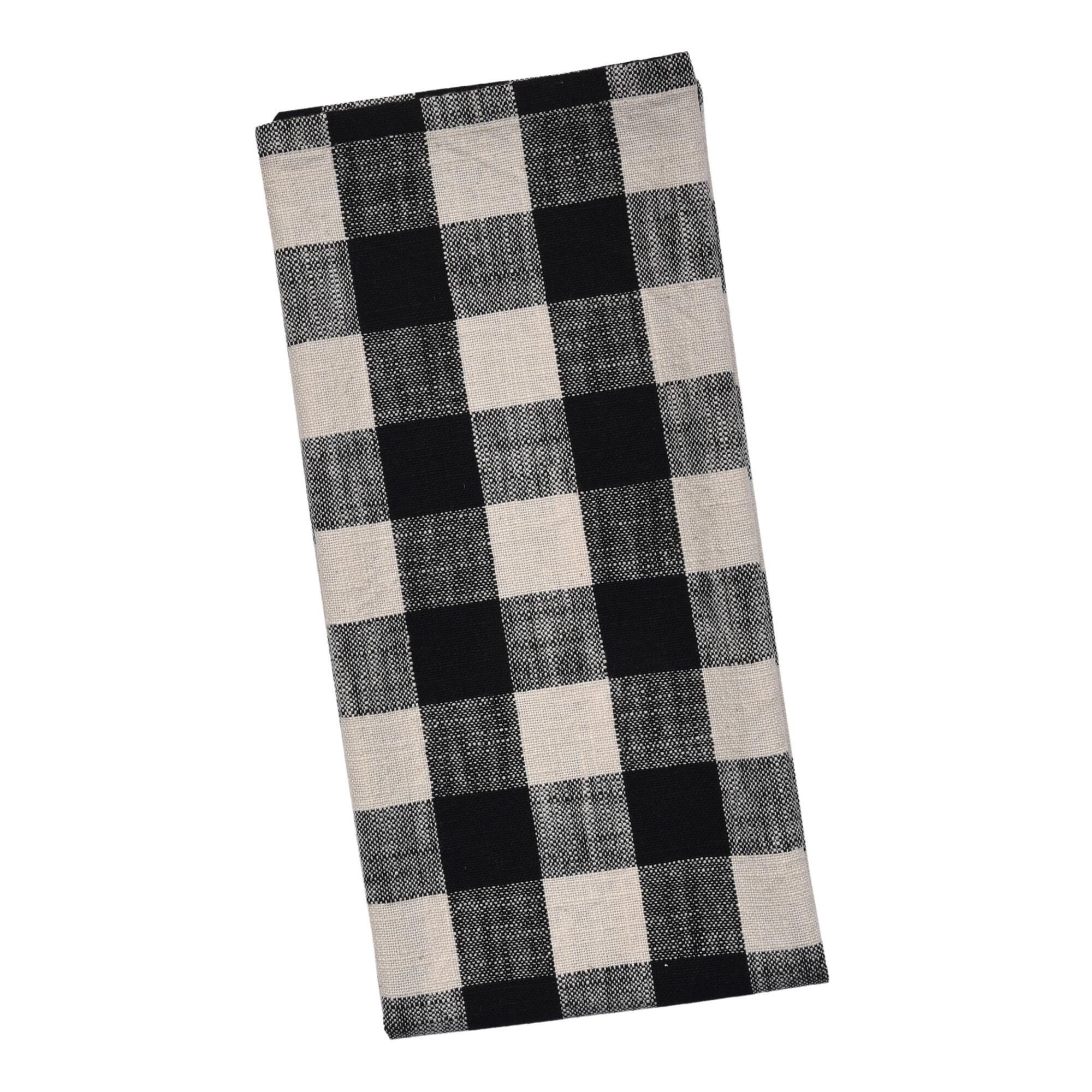 Black And Ivory Buffalo Check Kitchen Towel Set Of 2 $9.98