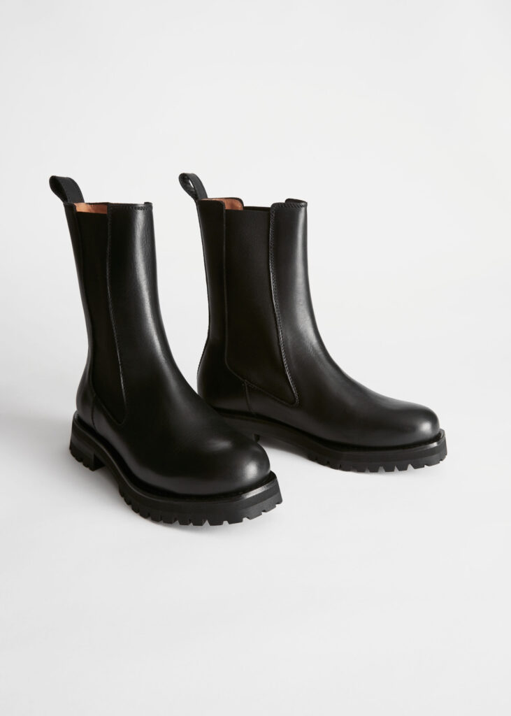 Chunky Sole Leather Chelsea Boots $229
