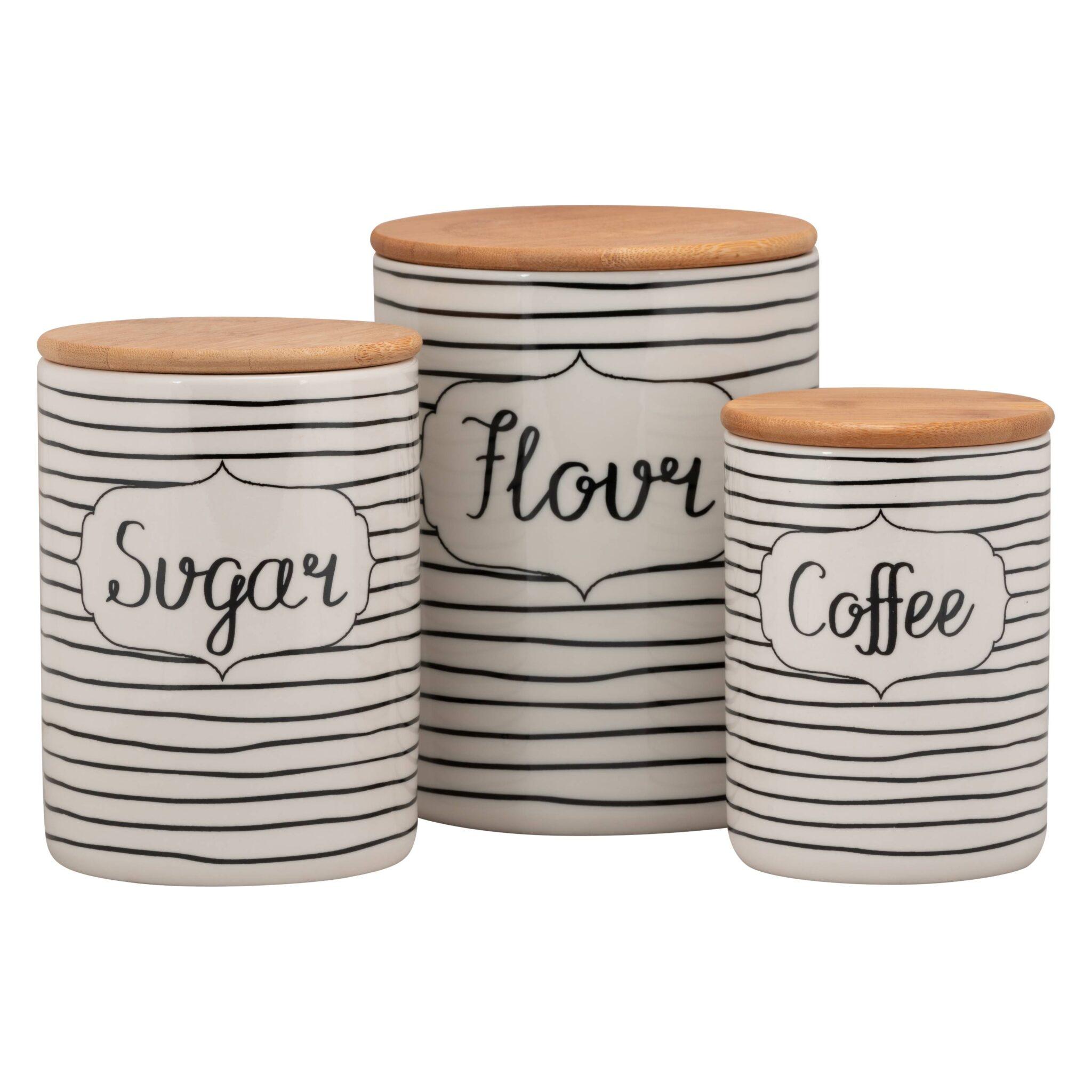10 Strawberry Street Everyday Coffee, Sugar, Flour 3 Piece Porcelain Canister Set, White/Black $26.99