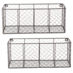 DII Farmhouse Vintage Chicken Wire Wall Basket, Set of 2 Large, Rustic Bronze $37.69