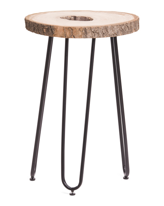 Sliced Wood Accent Table $49.99