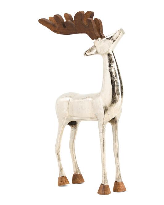 22in Metal Reindeer With Wood Antlers $39.99