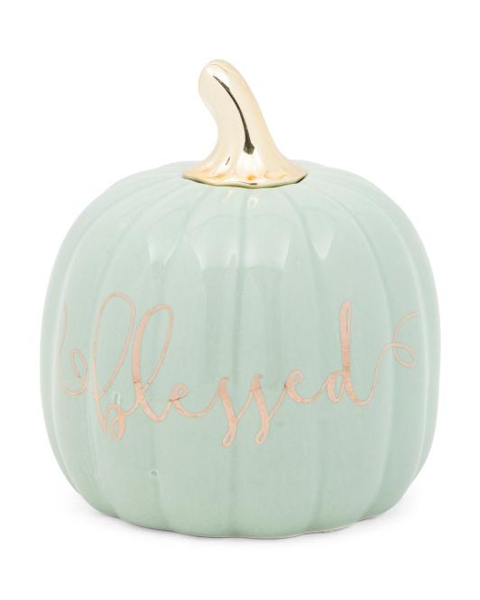 AUTUMN BLESSING 4.5in Ceramic Blessed Pumpkin $6.99