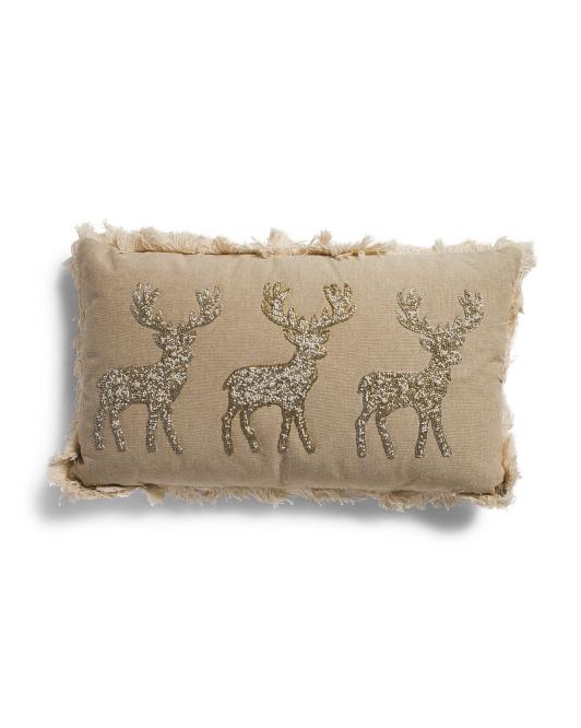MAGASCHONI 12x20 Beaded Linen Look Pillow $19.99