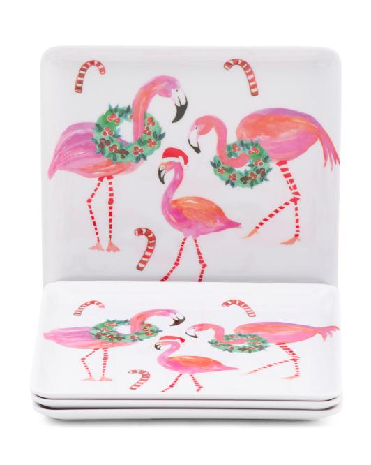 4pk Holiday Flamingo Melamine Appetizer Plates $9.99