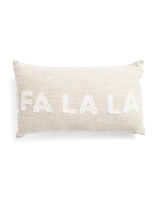 Made In India 14x24 Linen Falala Applique Pillow $19.99