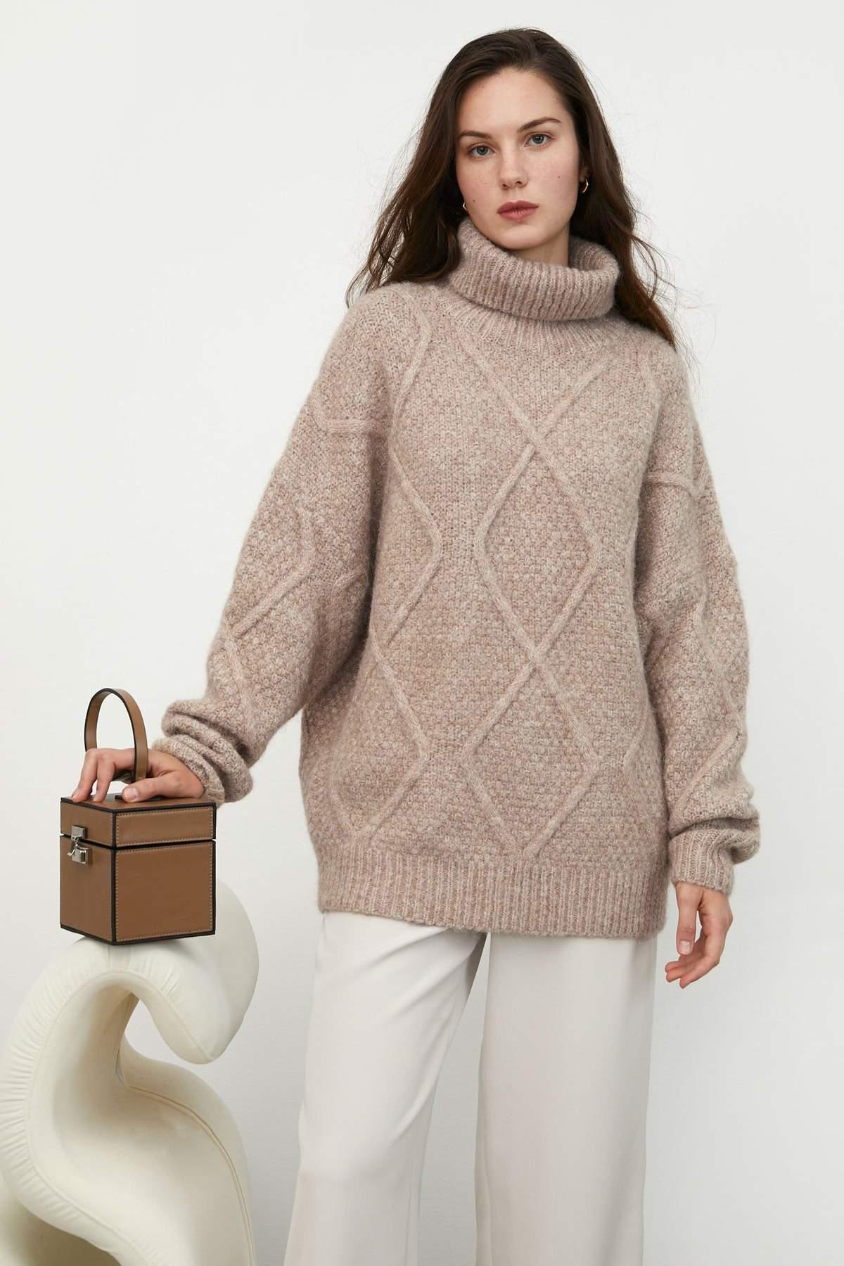 Sabrina Tan Diamond Turtleneck Sweater $37.49